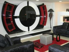 This article is about TV wall units in your bedroom or living room. It's known that in the last twenty-five years TV wall units became very popular. Wall Unit Designs, Living Room Tv Unit Designs, Tv Wall Design, Tv Unit Decor, Tv Wall Decor, Tv Unit Furniture Design, Tv Furniture, Rack Tv, Bedroom False Ceiling Design