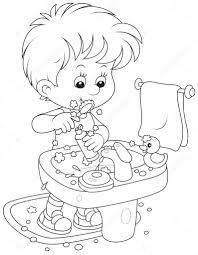 Resultado De Imagen Para Niño Cepillándose Los Dientes Para Colorear