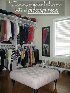 Spare Room--- DIY: Turning A Spare Bedroom Into A Dressing Room (on a budget) by Love and Bellinis Bedroom Into Dressing Room, Closet Bedroom, Bedroom Decor, Dressing Rooms, Bedroom Seating, Spare Room Closet, Closet Office, Bedroom Bed, Spare Room Dressing Room Ideas