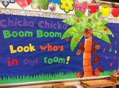 Chicka Chicka Boom Boom back to school bulletin board fav Kindergarten Bulletin Boards, Back To School Bulletin Boards, Preschool Bulletin Boards, Classroom Board, Classroom Bulletin Boards, Kindergarten Classroom, Classroom Themes, Classroom Window, Infant Classroom