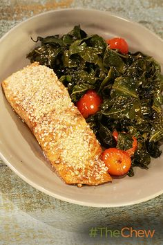 We o-fish-ally love balsamic salmon and kale for dinner!