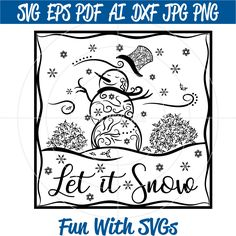 Glass Block Snowman SVG, Zentangle Snowman, SVG FIles, Winter Snow, Cricut svg files, silhouette svg file, winter svgs, Filigree snowmen svg SVG Cricut File, Silhouette File, High Resolution Printable Graphics and Editable Vector Art