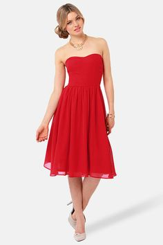 Strapless Dress - Red Dress - Midi Dress #Beach #Bridesmaids