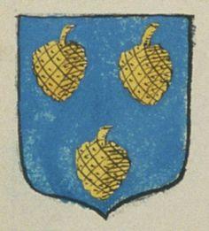 Louis POIRIER, procureur du roy au passage et mesurage de la Pointe. Porte : d'azur, à trois pommes de pin d'or   N° 258