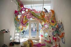 Artist Crystal Wagner hard at work on her installation showing at Hashimoto Contemporary all month long in San Francisco