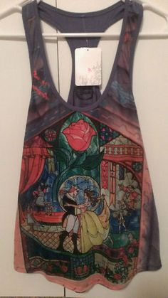 DISNEY PRINCESS BEAUTY AND & THE BEAST STAIN GLASS TANK TOP SHIRT L HOT TOPIC