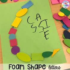 Foam shape alphabet letter mats! Alphabet letter mats - build the letter and write it! Easy way to make learning letters and handwriting fun for preschool, pre-k, and kindergarten #letters #alaphabet #handwriting #preschool #prek #kindergarten Preschool Classroom, Preschool Art, Kindergarten, Letter Games, Teaching The Alphabet, Letter Formation, Little Learners, Writing Practice, Craft Stick Crafts