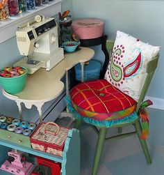 My next house WILL HAVE a cute sewing area like this....