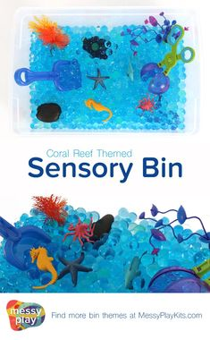 Coral Reef Sensory Bin includes blue waterbeads, ocean themed toys & fine motor tools.  Water play and sensory play for kids with an ocean and underwater theme! Early Learning Toys / Sensory Bin Ideas / Messy Play Kits #messyplaykits #sensorybin
