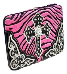 Pink Zebra Print Cross Wallet with Rhinestones  #HBM #Clutch