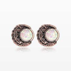 A Pair of Vintage Rustica Boho Filigree Opal Moon Stud Earrings