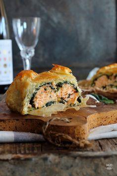 Hojaldre de salmon y espinacas a la crema