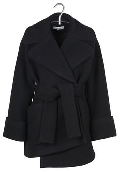 Manteau ample en laine bouillie Noir by CARVEN