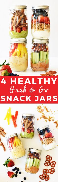 4 Healthy Grab-and-Go Snack Jars | healthy snack recipes, healthy snack jars, easy snack recipes, how to make a snack jar, healthy snack ideas, snack recipes healthy, snack jar ideas, on the go snack ideas || The Butter Half via @thebutterhalf via @thebutterhalf