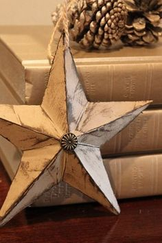 How to make this 3D star from cardstock or scrapbook paper. Make as an ornament or other holiday decoration.
