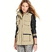 Steve Madden Jacket, Mixed-Media High-Low Military