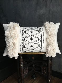 Beni ouarain rug handpainted pillow fringe pillow tassel pillow anthropologie African mudcloth taisasilecky boho pillow