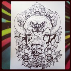 Gentle Buffalo Tattoo Large 12x18 Coloring Page by loveleeshop