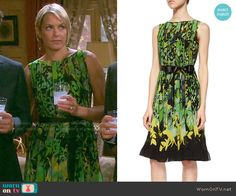 Nicole's green printed dress with pleats on Days of our Lives.  Outfit Details: http://wornontv.net/54448/ #DaysofourLives