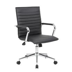 Boss Office Products Black Contemporary Task Chair at Lowe's. This task chair in black vinyl is designed with fixed chrome arms for that pop of metallic color that brings any room or office to the next level. Chair Upholstery, Upholstered Chairs, Arm Chairs, Chair Cushions, Accent Chairs, Dining Chairs, Plastic Adirondack Chairs, Executive Office Chairs, Chair Types