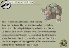 Pokemon Personalities - Golem - #076/719.