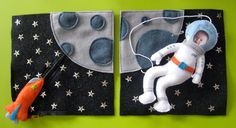 zipper rocket and hiding alien. cute! Astronaut Quiet Book Page