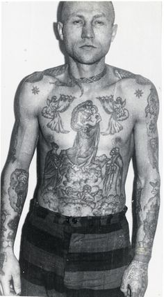 Russian Criminal Tattoo A snake around the neck is a sign of drug addiction. These trousers are the uniform of the strictest type of prison regime in the Soviet Union. Criminals sent here are known as 'osobo opasnim retsidivistom' (especially dangerous recidivists), who have carried out grave offences such as murder or paedophilia. They are not subject to parole.