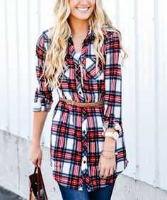 Another great find on #zulily! Red & Tan Plaid Button-Up Tunic #zulilyfinds