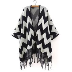 Choies Navy Chevron Pattern Tassel Fringed Cape Cardigan ($46) ❤ liked on Polyvore featuring tops, cardigans, blue, navy cardigan, blue top, blue cardigan, chevron cardigan and chevron print tops