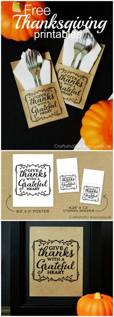 Free Thanksgiving Day Printables/Crafts - quote + DIY Utensil Holder - idea: Print on kraft paper for a rustic look! Thanksgiving Parties, Thanksgiving Crafts, Happy Thanksgiving, Holiday Crafts, Holiday Fun, Happy Fall, Thanksgiving Posters, Diy Thanksgiving Decorations, Free Thanksgiving Printables