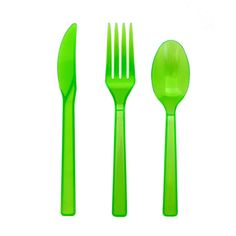 Amazon.com: Northwest Enterprises Plastic Cutlery Assortment and Knives/Forks/Spoons, Neon Green, 17 Place Setting-Count: Kitchen & Dining