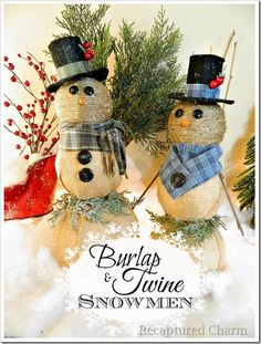 burlap & twine snowmen4f