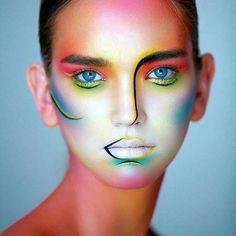 17 ideas painting face abstract make up for 2019 Fx Makeup, Airbrush Makeup, Beauty Makeup, Movie Makeup, Body Makeup, Make Up Looks, Make Up Designs, Extreme Makeup, Foto Fashion