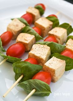 Mozzarella Basil and Tomato Skewers #skewer #mozzarella #basil #tomato #summer #glutenfree