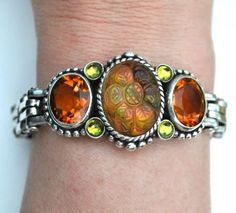 STEPHEN DWECK STERLING SILVER CARVED FLORAL QUARTZ AND CITRINE BRACELET, 73g #StephenDweck #GemstoneToggleBracelet