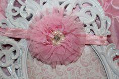 Light Pink Fancy Newborn Infant Girls Headband by BellaKumariBows, $11.75