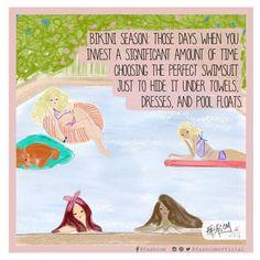 "FASHCOM on Instagram: ""Don't try to deny it ☺ • #bikini #summer #pool #friends #happiness #swimsuit #poolparty #comic #fashioncomic #illustration #fashcom #fashionart #enjoy"""