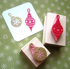 christmas baubles hand carved rubber stamps by skull and cross buns | notonthehighstreet.com