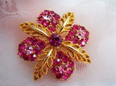 Lisner Pink and Fuchsia Rhinestone Floral Brooch by mamiezvintage, $22.00