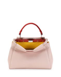 Peekaboo Mini Tricolor Satchel Bag, Light Pink/Yellow/Orange by Fendi at Neiman Marcus.