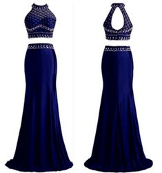 Two Pieces Royal Blue Custom Made Long Prom Dress,Evening Dress,Charming Prom…