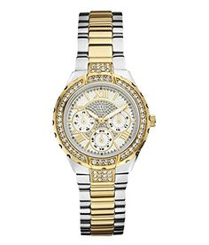 "GUESS Women's W0111L5 ""Sparkling Hi-Energy"" Silver- And Gold-Tone Watch * You can get more details by clicking on the image."