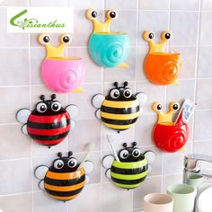 Creative Bathroom Products Sets Cartoon Ladybug Snails Toothbrush Toothpaste Holder Wall Sucker Suction Hook Tooth Brush Holder #Affiliate