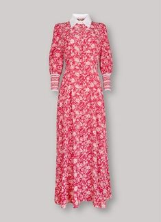 Kate Middleton wearing the Beulah London Calla dress in rose red floral Beulah London, East London, Floral Shirt Dress, Floral Shirts, Floral Evening Dresses, Kate Middleton Style, Luxury Dress, Rose Dress, Duchess Of Cambridge