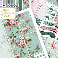 MAMBI stickers Emerald Blue pink Happy Planner Stickers Happy Planner Kit Mambi Printable Happy Planner PDF Floral Planner Stickers Coupon by MiniStickersStudio on Etsy https://www.etsy.com/listing/502987630/mambi-stickers-emerald-blue-pink-happy