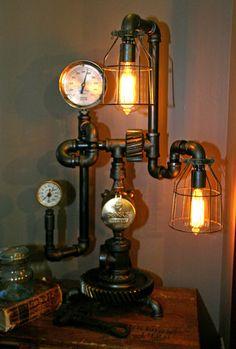 Machine Age Steampunk Steam Gauge Lamp #63