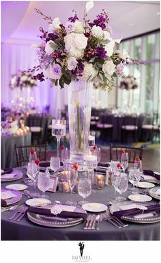 #slate and #aubergine centerpiece Modern Fall Wedding #FloralCredit #braunsfineflowers #photocredit #djamelphotography