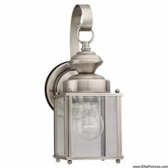 Sea Gull Lighting 8456-965 Single-Light Jamestowne Outdoor Wall Lantern with Clear Beveled Glass, Antique Brushed Nickel by Sea Gull Lighting. $62.72. From the Manufacturer                Jamestowne Single-Light Outdoor Wall Lantern Finished in Antique Brushed Nickel with Clear Beveled Glass is generous welcoming light from this unassuming yet stylish collection. The antique brushed nickel together with the clear beveled glass is perfect outdoor illumination. Width: 4-Inc...