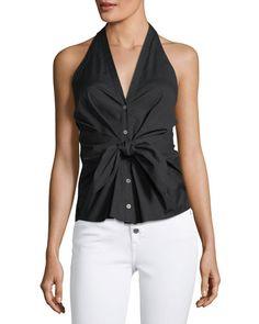b533d24543f24 VERONICA BEARD VEA SELF-TIE HALTER TOP.  veronicabeard  cloth