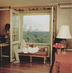 David Bowie with his 1-month-old daughter Alexandria in September 2000, in their house in New York